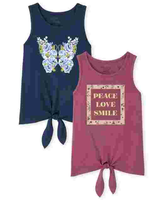 Girls Mix And Match Sleeveless Love And Butterfly Tie Front Tank Top 2-Pack