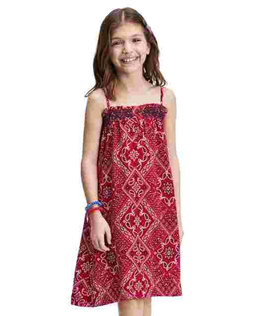 Girls Americana Sleeveless Bandana Print Knit Dress