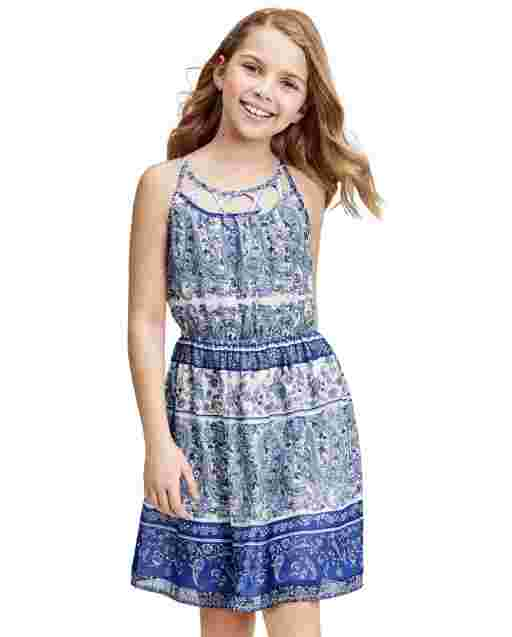 Girls Mommy And Me Sleeveless Paisley Border Print Woven Matching Dress