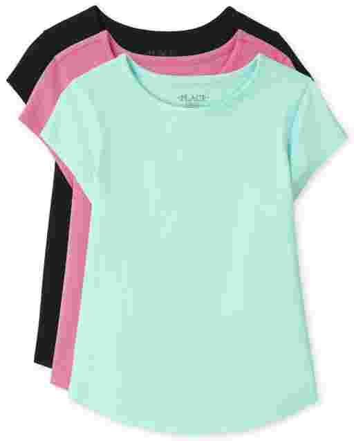 Paquete de 3 camisetas básicas de manga corta con dobladillo curvo para niñas