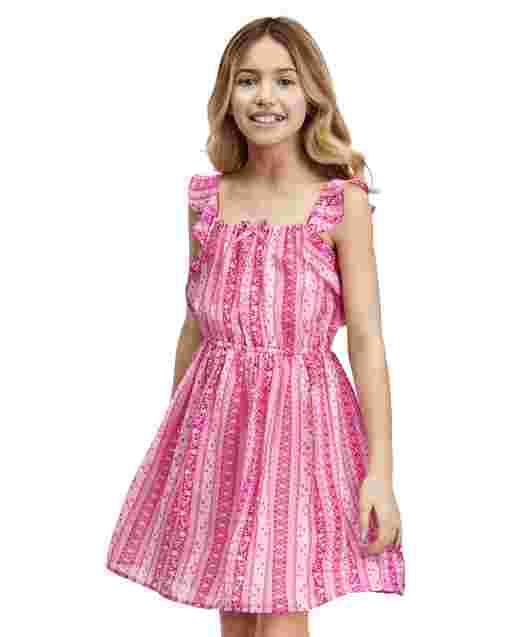 Girls Sleeveless Striped And Print Woven Ruffle Dress
