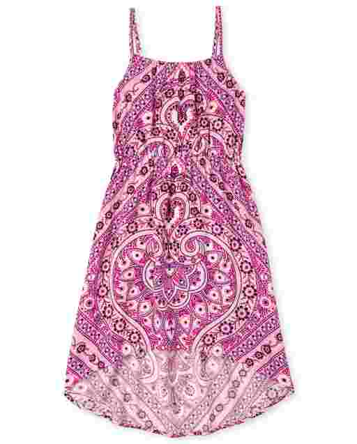 Girls Sleeveless Medallion Print Woven High Low Dress