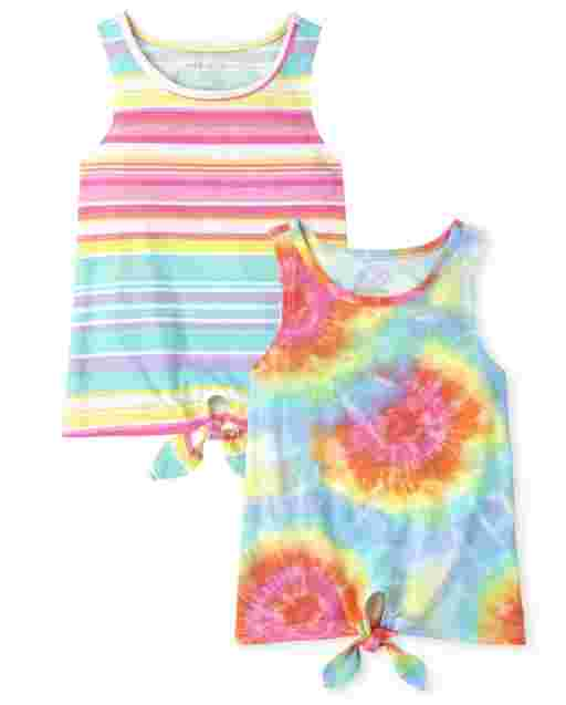 Girls Sleeveless Tie Front Tank Top 2-Pack