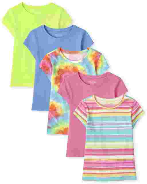 Girls Short Sleeve Rainbow Tie Dye And Striped Basic Layering Tee 5-Pack