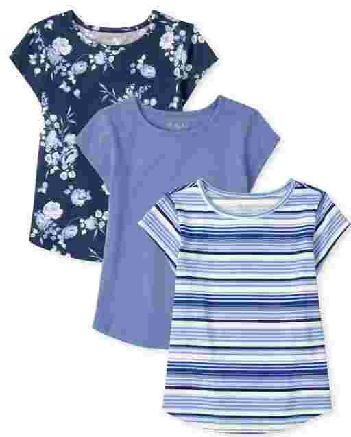Girls Short Sleeve Curved Hem Top 3-Pack