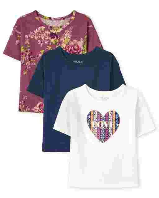 Girls Short Sleeve Graphic Boxy Top 3-Pack