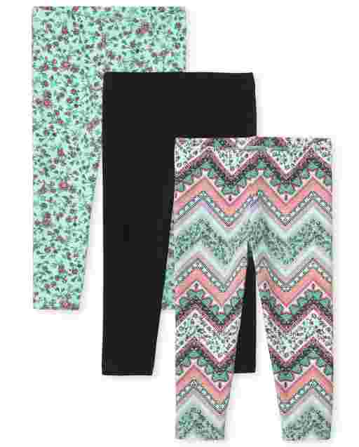 Girls Solid And Print Knit Capri Leggings 3-Pack