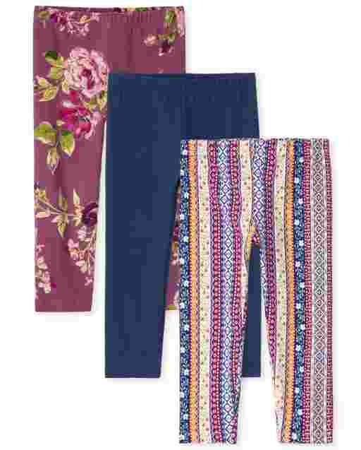 Girls Print Knit Capri Leggings 3-Pack