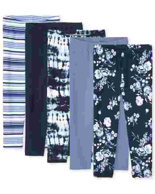 Girls Print Knit Capri Leggings 5-Pack