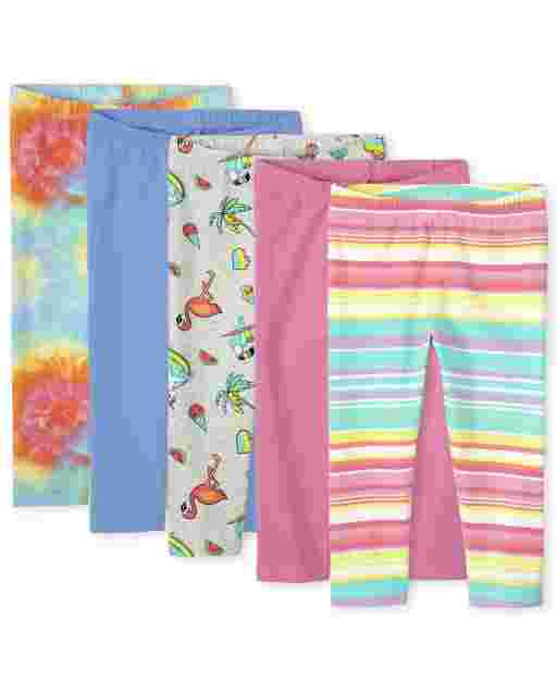 Girls Solid And Print Knit Capri Leggings 5-Pack