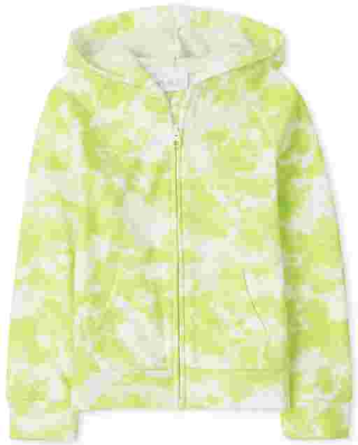 Girls Active Long Sleeve Tie Dye French Terry Zip Up Hoodie