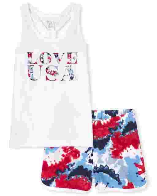 Niñas Americana Sin Mangas ' Love USA ' Camiseta sin Mangas Tie Dye y Shorts Tejidos con Diseño Tie Dye Dolphin Conjunto de 2 Piezas