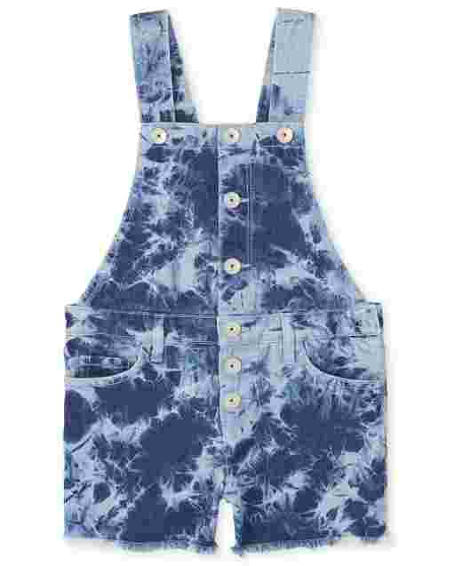Girls Sleeveless Tie Dye Denim Shortalls