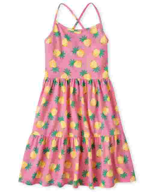 Girls Sleeveless Pineapple Print Knit Tiered Dress