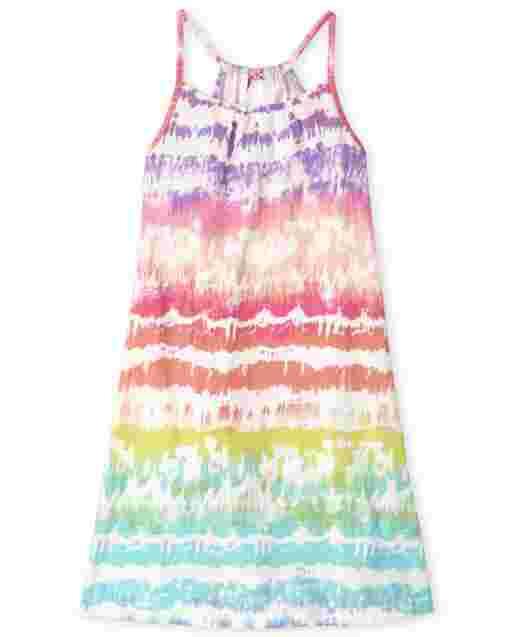 Girls Sleeveless Rainbow Tie Dye Knit Dress