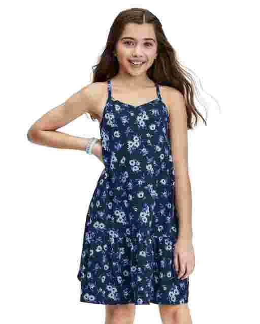 Girls Sleeveless Print Knit Drop Waist Dress
