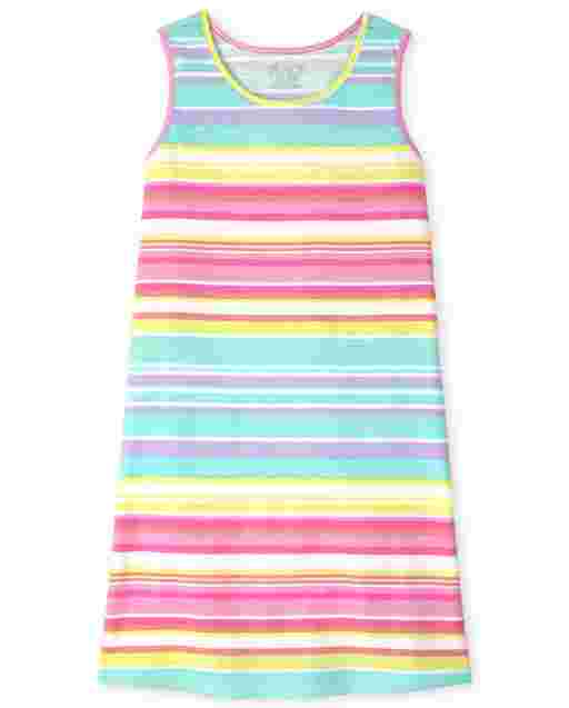 Girls Sleeveless Rainbow Striped Knit Tank Dress