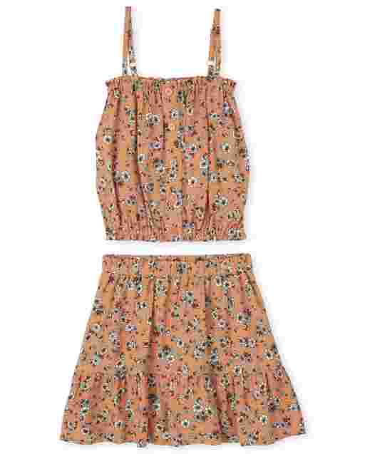 Girls Sleeveless Floral Print Cami Top And Floral Print Woven Ruffle Skirt 2-Piece Set