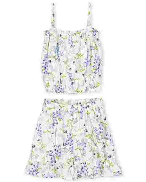 Girls Sleeveless Floral Print Ruffle Top And Floral Print Woven Ruffle Skirt 2-Piece Set