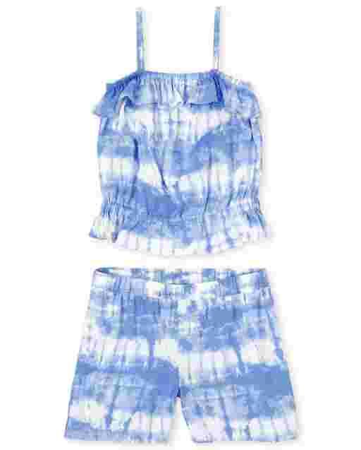 Girls Sleeveless Tie Dye Ruffle Top And Tie Dye Woven Shorts 2-Piece Set