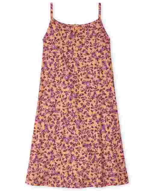 Girls Sleeveless Floral Print Ribbed Knit Cami Dress
