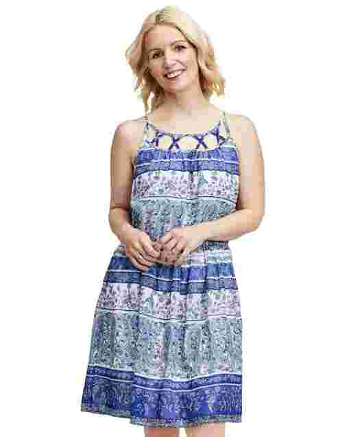 Womens Mommy And Me Sleeveless Paisley Border Print Woven Matching Dress