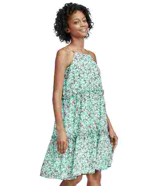 Womens Mommy And Me Sleeveless Floral Print Woven Matching Tiered Dress