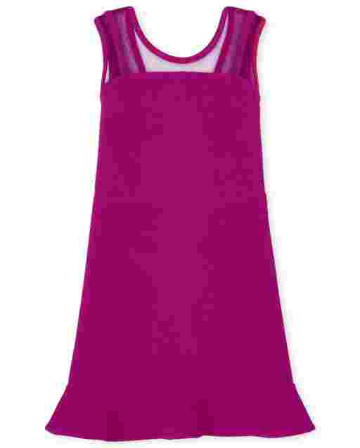 Vestido de jacquard elástico de punto con volantes de malla sin mangas para niñas