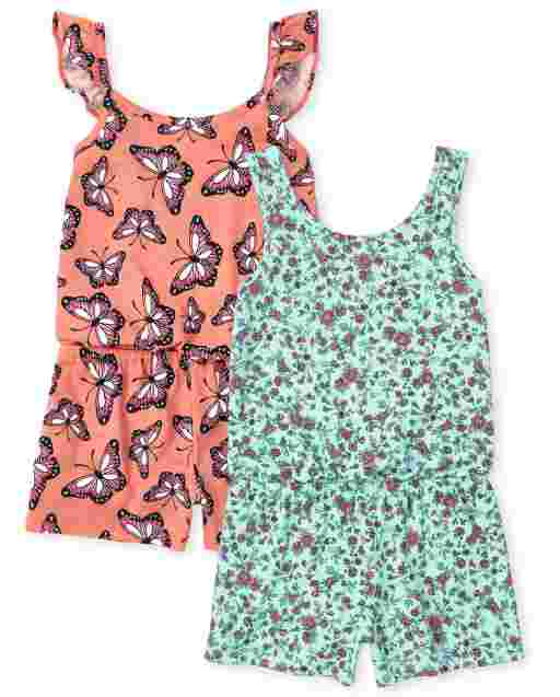Girls Sleeveless Floral And Butterfly Print Knit Romper 2-Pack