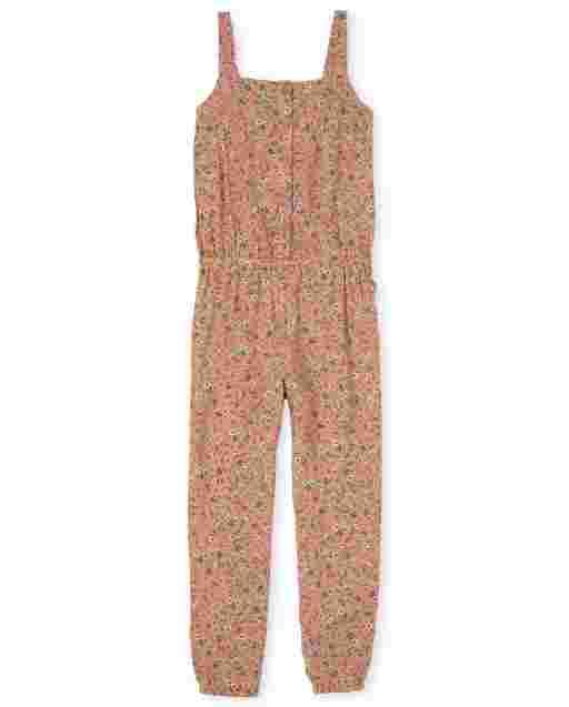 Girls Sleeveless Floral Print Woven Button Jumpsuit
