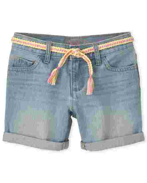 Girls Roll Cuff Belted Denim Midi Shorts