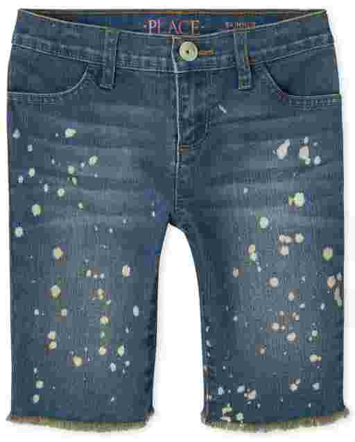 Girls Paint Splatter Denim Skimmer Shorts