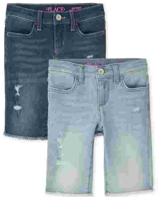 Girls Distressed Denim Skimmer Shorts 2-Pack