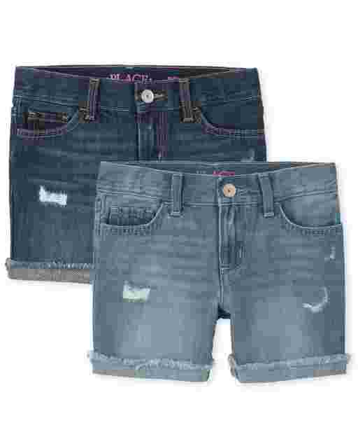 Girls Distressed Denim Midi Shorts 2-Pack