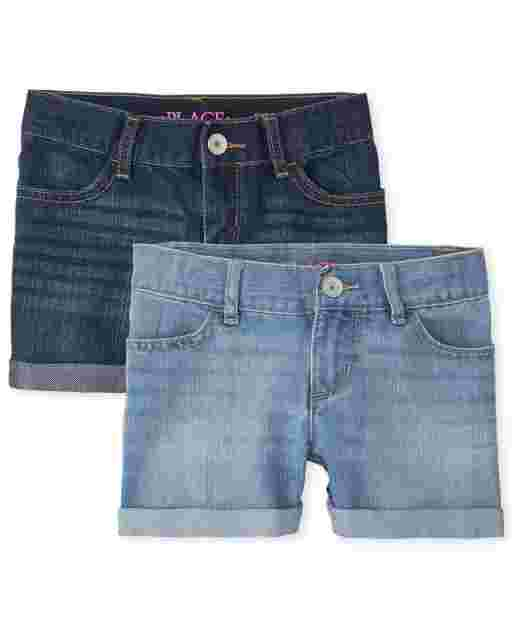 Girls Roll Cuff Denim Shortie Shorts 2-Pack