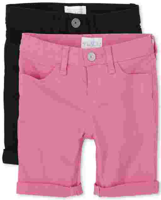 Girls Roll Cuff Twill Skimmer Shorts 2-Pack
