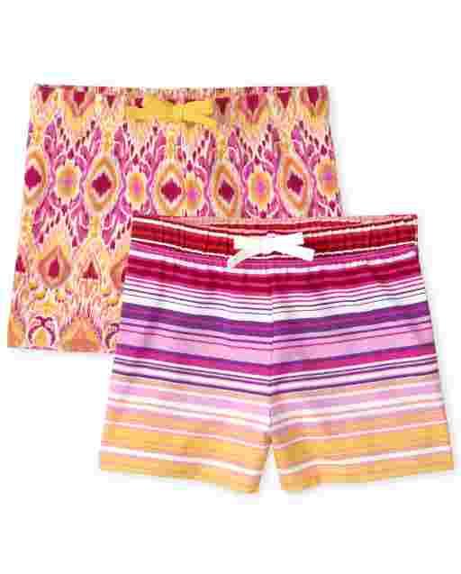 Girls Mix And Match Print Knit Shorts 2-Pack