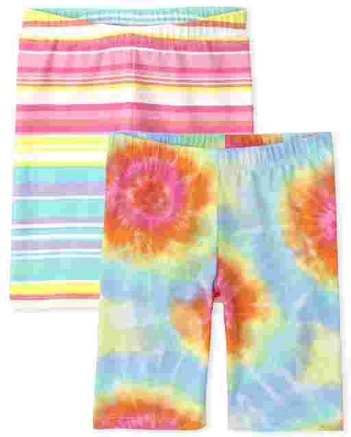 Girls Mix And Match Rainbow Tie Dye And Striped Knit Shorts 2-Pack