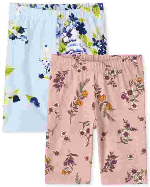 Girls Mix And Match Floral Print Knit Bike Shorts 2-Pack