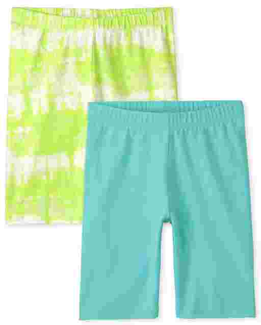 Girls Mix And Match Solid And Tie Dye Knit Bike Shorts 2-Pack