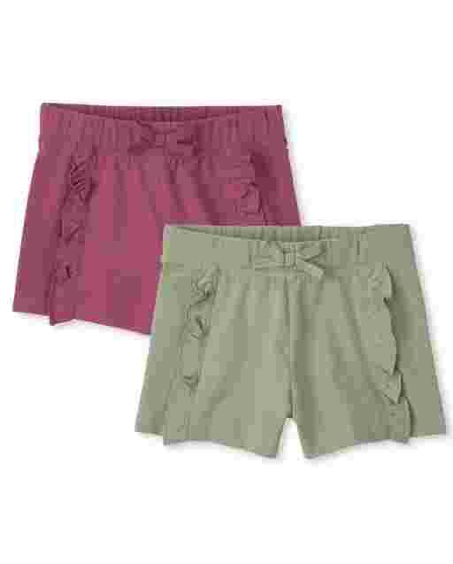 Pack de 2 pantalones cortos de punto con volantes para niñas