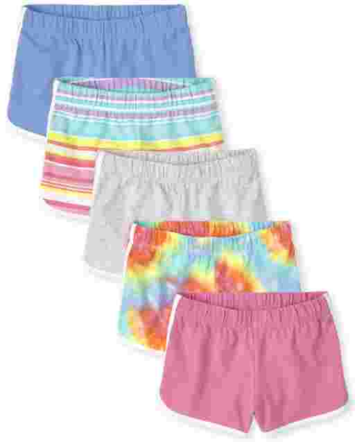 Girls Knit Dolphin Shorts 5-Pack