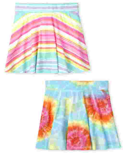 Girls Mix And Match Rainbow Tie Dye And Striped Knit Skort 2-Pack