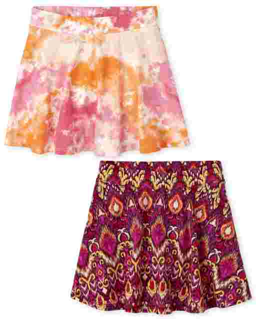 Girls Mix And Match Print Knit Skort 2-Pack
