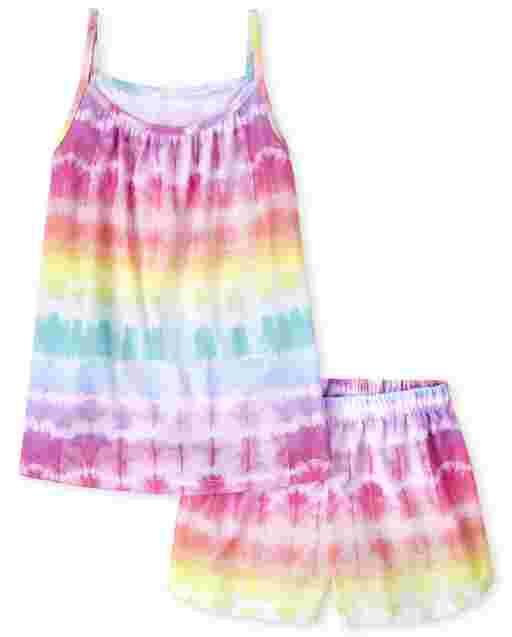 Pijama sin mangas con efecto tie dye arcoíris para niñas