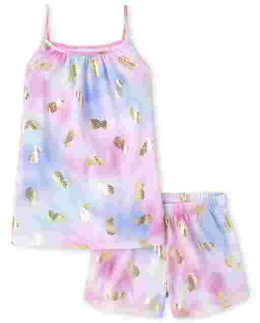 Pijama de niña de manga corta con volantes y estampado de piña con efecto tie dye