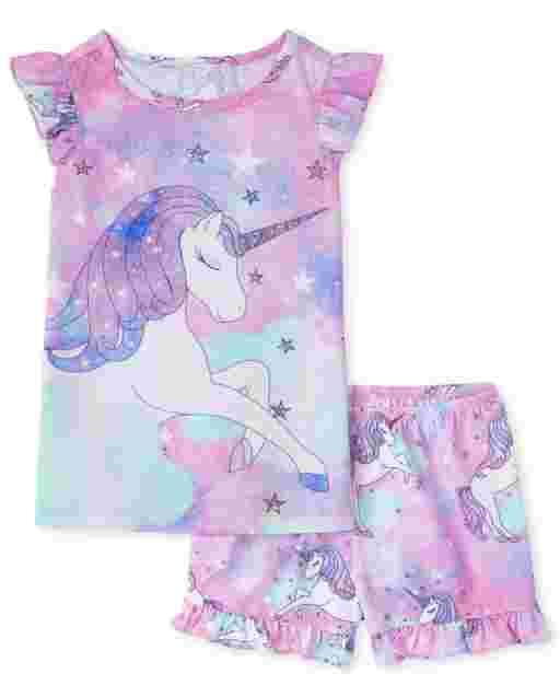 Pijama de unicornio de manga corta con volantes para niñas