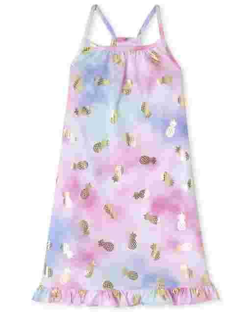 Girls Sleeveless Foil Pineapple Print Tie Dye Nightgown