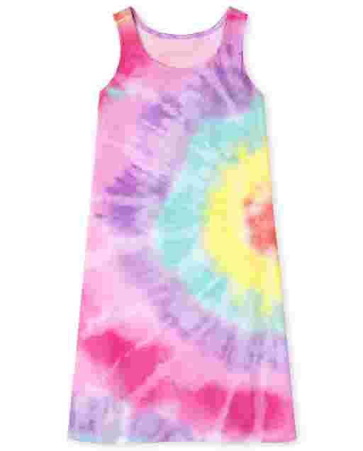 Girls Sleeveless Rainbow Tie Dye Nightgown