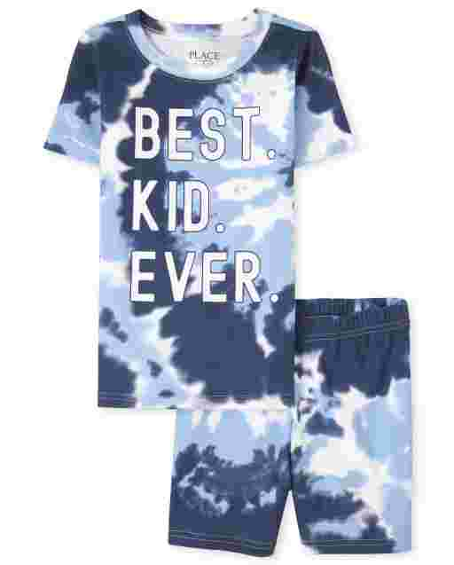 Boys Matching Family Short Sleeve 'Best Kid Ever' Tie Dye Snug Fit Cotton Pajamas